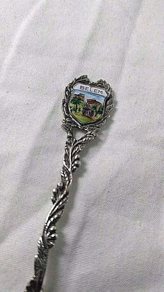 "Vintage Sterling Silver - ENAMEL Belem Travel Shield - Souvenir Spoon 3.2"""