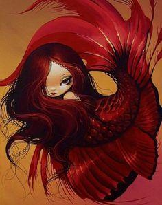AFFBooks | Swim with Mermaids |Red mermaid