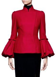 Alexander Mcqueen Pleated Bell Sleeve Wool Jacket in Red