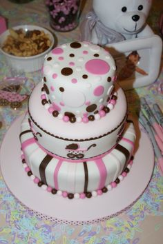 Baby Shower Cakes for Girls   Pink and Brown Baby Shower Cake — Baby Shower