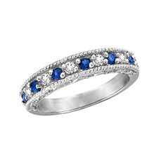 From Morris & David comes this gorgeous diamond and blue sapphire ring band!