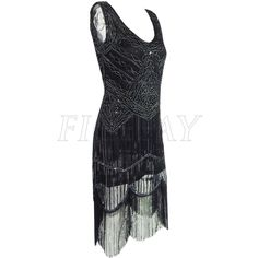 Women 1920s sequin paisley long tassels overlay midi flapper dress