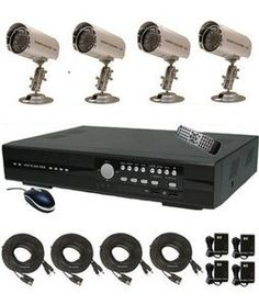 CIB R401H60W500G8753 4CH Security Surveillance DVR Four CCD Bullet Cameras KI... by CIB Security. $349.00. --PACKAGE CONTENTS-- * One H.264 4 CH Network DVR 500GB built in * IR Remote control * Network Remote Viewing PC, Cell phone program * Eagleeyes and CMS software * 4 x Sony Super HAD CCD Sensor 480TVL IR Day Night Outdoor Bullet Color Camera * 4 x 65FT Video cables w/ 4CH 12V DC Power Supply.  <> One H.264 4 CH Stand Alone Network DVR * 500GB Hard Dis...
