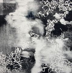 """Experimentation 7, hand pulled monotype, original, image is 18"""" x 18"""" on 22"""" x…"""