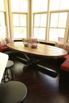 ROY- Custom Butcher Block Strip Oval Dining Table from Reclaimed Wood