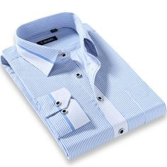 2017 New Arrival High Quality Men's Business Casual Slim Fit Shirt Long Sleeve No-Iron Striped Polka Dot Stylish Dress Shirts Formal Shirts, Casual Shirts For Men, Men Casual, Men Shirts, Business Shirts, Business Casual Men, Business Formal, Men Dress, Shirt Dress