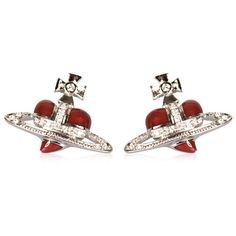 Vivienne Westwood Diamante Heart Stud Earrings | GarmentQuarter