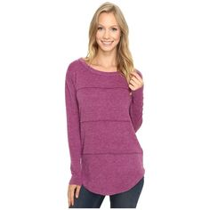 Mod-o-doc So..Soft Sweater Knit Long Sleeve Pullover (Dark Fuchsia)... ($60) ❤ liked on Polyvore featuring tops, sweaters, long sleeve sweater, knit sweater, purple pullover sweater, sweater pullover and purple long sleeve top