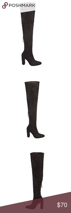 Steve Madden BACK TO Over The Knee EMOTIONS black It's hard not to strut when sporting these thigh-high statement boots down the street.  Style EMOTIONS over skinny jeans or with a mini skirt for a flirty Mod look.  Microsuede upper Man-made lining Man-made sole 4.25 inch heel height 16 inch shaft circumference 24.5 inch shaft height Functional back zipper Shaft stretches for wider fit Block heel Almond toe Steve Madden Shoes Over the Knee Boots