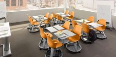 Steelcase/IDEO school desks - storage underneath, swivel chair capabilities, easily configurable.