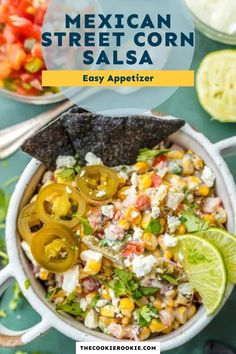 Corn Salsa is one of my favorite dips, the perfect mix of ingredients with plenty of texture. This Mexican Street Corn Salsa recipe is filled with roasted corn, feta, lime juice, sour cream, cilantro, pico de gallo, and more! #mexicanstreetcorn #easyappetizer #cincodemayo #roastedcorn Spicy Corn Dip, Corn Salsa, Game Day Appetizers, Mexican Street Corn, Roasted Corn, Chicken Marinades, Salsa Recipe, Game Day Food, Lime Juice