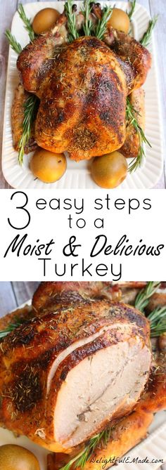 Tired of dry, bland turkey? I'll show you three easy steps to a moist, flavorful and completely delicious turkey! Tired of dry, bland turkey? I'll show you three easy steps to a moist, flavorful and completely delicious turkey! Food For Thought, Thanksgiving Feast, Thanksgiving Turkey Recipes, Best Turkey Recipe, Easy Turkey Recipes, Young Turkey Recipe, Hosting Thanksgiving, Quick Recipes, Roasted Turkey