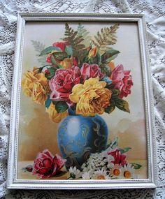 Roses Print Paul de Longpre Vintage Rose Daisies