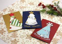 Iné stromčeky, tento vzor najviac vynikne pri papieri s roznôfarebnými stranami. Diy Christmas Cards, Xmas, Gift Wrapping, Gifts, Gift Wrapping Paper, Presents, Christmas, Wrapping Gifts, Navidad