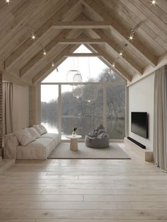 Home Living Room, Living Spaces, Modern Barn House, Modern Cottage, Loft Room, A Frame House, Cabin Homes, My New Room, Minimalist Home