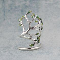 Enamel leaf & Tree Branch Ring Sterling by SilverUniqueJewelry