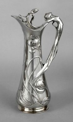 Magickal Ritual Sacred Tools: Art Nouveau Jugendstil silver-plated pitcher, 1900. Beautiful for filling a chalice or pouring a libation.
