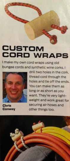 Make custom cord wraps out of old bungee cords.