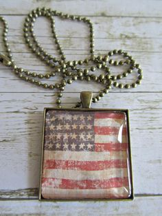 Flag Necklace, Stars and Stripes Necklace, Glass Tile Pendant, US Flag Pendant, Patriotic Necklace, Americana Flag Necklace, Flag Jewelry by BrownBeaverBeadery on Etsy