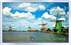 $3.29 - Acrylic Fridge Magnet: Netherlands. Zaanse Schans. Windmills.