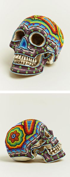 B♠nes ☠ - Beaded Skulls by Our Exquisite Corpse - Beautiful collaboration between Our Exquisite Corpse and the Huichol people of Mexico to create these incredible beaded skulls. The skulls are cast from resin and hand beaded on a layer of wax.