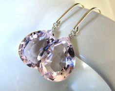 Pink Earrings, Dangle, Morganite Pink Quartz, Sparkly, AAA Luxe, Handmade, Sterling Silver - In the Pink