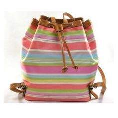 "Coach Pastel Colored Multi-Stripe Backpack Genuine Coach Drawstring Backpack with Beautiful Pastel Colored Stripes. Bag has Leather Straps, Silver Accents, Convenient Interior Pockets. Lining has a fun colorful ""Coach"" print, that is easily kept clean by just wiping it out. Gently Used. Coach Bags Backpacks"
