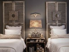 love Aiden Gray, shutters as headboards