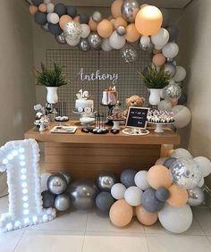 Blowing Up Balloons, Confetti Balloons, Orange Balloons, Baby Boy 1st Birthday Party, Birthday Party Themes, 20th Birthday, Balloon Arch, Balloon Garland, Balloon Ribbon