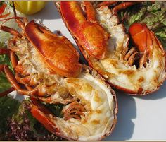 Baked lobsters with hot mustard sauce.This recipes can be make quickly in the stove or grill.The quick blender sauce can be prepared a day or more in advance.Add the fresh basil just before serving.Some of the sauce can be saved to use as an all-around condiment sauce for fish and grilled poultry.