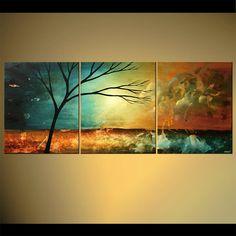 triptych canvas landscape of naked tree