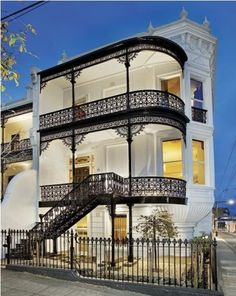 The victorian style architecture was quite confined as they were built on small blocks of land in or close to the city. the ironwork on the balconies was a dominant feature to the designs