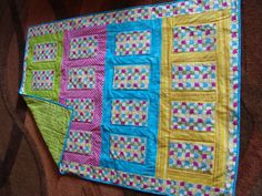 Baby or lap quilt in bright pinks greens by EmilHansDesigns