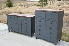 Refinished Dresser Set in Grey/Blue with stained top.