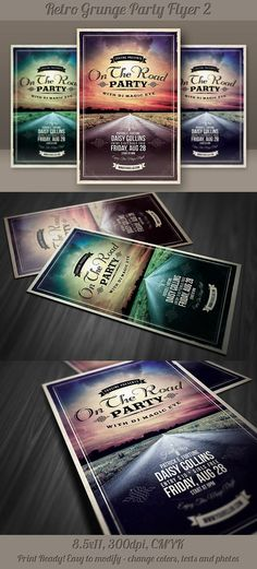 Buy Retro Grunge Party Flyer 2 by on GraphicRiver. Retro style and unique flyer, poster, invitation design for your next party or project. Grunge Party, Music Flyer, Print Layout, Layout Design, Folder Design, Party Flyer, Event Flyer Templates, Identity, Catalog Design