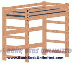 Loft Or Bunk Bed Plan Tall Extra Long Twin