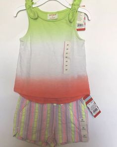 3f8233fb445e7 Cat And Jack Girls 3T Outfit 2 Piece Shorts And Tank Top Lime Green Stripe