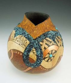 Inlaid Glass Gourd  ~  copyright 2012 Bonnie Gibson