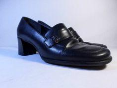 Womens shoes BANDOLINO black Moc Toe LEATHER chunky heel loafer pump size 6.5 M
