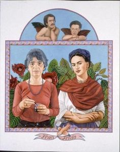 """Jane Lund's painting of artist Gregory Gillespie's wife, Fran, alongside the Mexican painter Frida Kahlo with a mustachioed Gillespie and Kahlo's lover, Diego Rivera, both posing as the angels from Raphael's """"Sistine Madonna and her Angels."""""""
