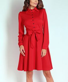 Another great find on #zulily! Red Tie-Waist Button-Front Dress by NAOKO #zulilyfinds