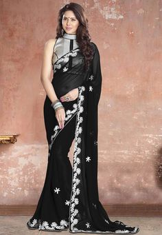 35bc233f8f1 Faux Georgette Saree in Black Enhanced with Gotta Patti Work Available with  an Unstitched Art Silk