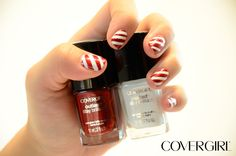 Deck your nails with candy cane nail art in 4 easy steps using NEW Outlast Stay Brilliant Nail Gloss in Forever Festive and Snow Storm.