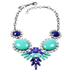 Perfect+for+a+party+or+afternoon+on+the+town,+this+gunmetal-plated+necklace+showcases+sparkling+Austrian+crystals+and+faux+blue+and+turquoise+stone+accents. ...
