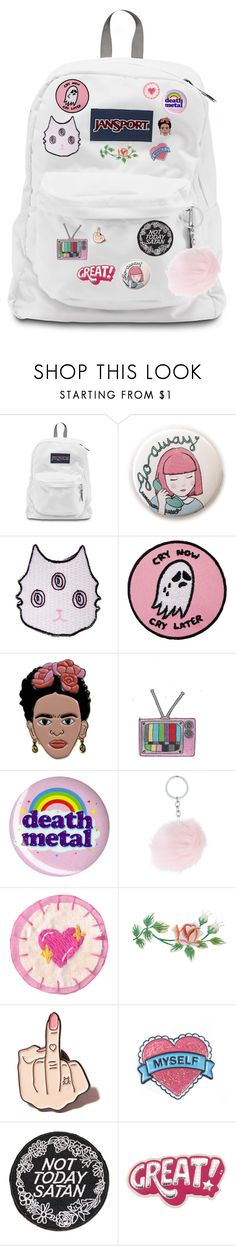 """v's backpack ♡"" by sleeping-in-space ❤ liked on Polyvore featuring Valfré, Hot Topic, Local Heroes, Rupaul and Anya Hindmarch"