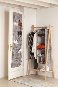 Use over-the-door shoe bags to keep your shoes or even cleaning supplies organized.
