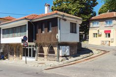 View of the street in balchik town, road and old historic houses in Bulgaria stock photo