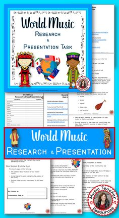 World Music  |   This is an in-depth research and oral presentation task that would suit students in grades 5-8.  It requires students to choose a country and research the instruments and music of that country.