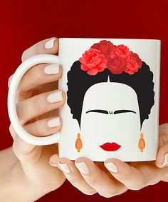 White & Red Frida Kahlo Ceramic Mug