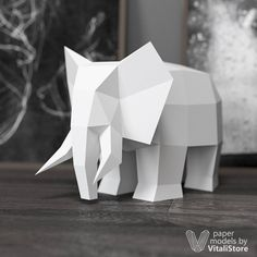 Elephant Papercraft Paper Craft Elephant Decor 3D Origami